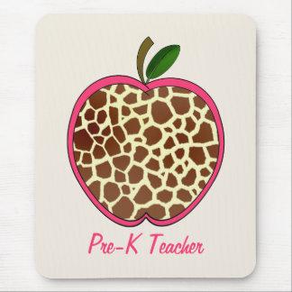 Pre K Teacher Giraffe Print Apple Mouse Pad