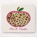 Pre K Teacher Giraffe Print Apple Mouse Pads