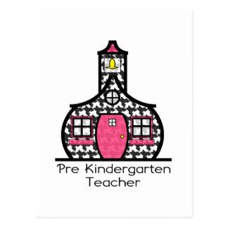 Pre K Teacher Houndstooth Schoolhouse Postcard