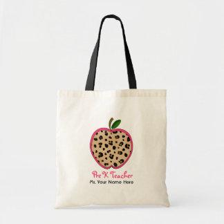 Pre K Teacher Leopard Print & Pink Apple Canvas Bags