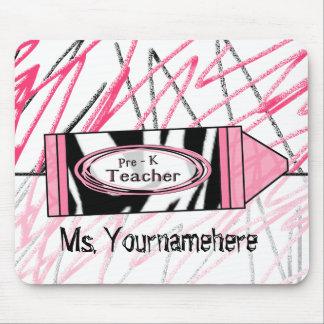 Pre K Teacher Mousepad - Zebra Print Crayon