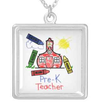 Pre K Teacher Necklace - Crayon Drawing