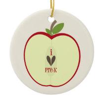 Pre K Teacher Ornament - Red Apple Half
