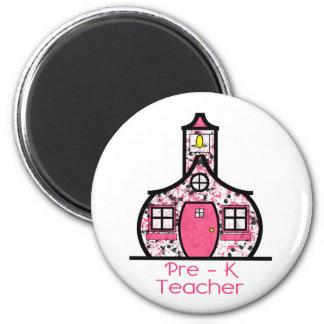 Pre K Teacher Paint Splatter Schoolhouse 2 Inch Round Magnet