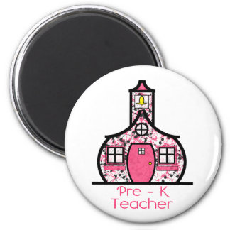 Pre K Teacher Paint Splatter Schoolhouse Fridge Magnets