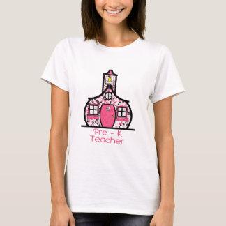 Pre K Teacher Paint Splatter Schoolhouse T-Shirt