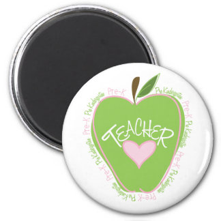Pre K Teacher Pink and Green Apple 2 Inch Round Magnet