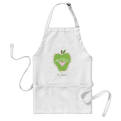 Pre K Teacher Pink and Green Apple Adult Apron