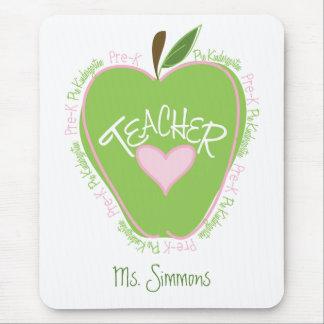 Pre K Teacher Pink and Green Apple Mousepads