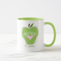 Pre K Teacher Pink and Green Apple Mug