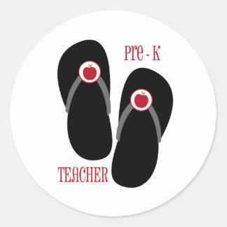 Pre K Teacher Red Apple Flip Flops Classic Round Sticker