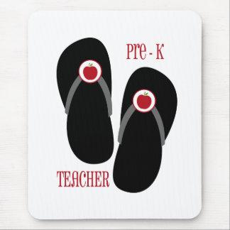 Pre K Teacher Red Apple Flip Flops Mouse Pad