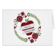 Pre K Teacher Red Apple Floral Wreath Card