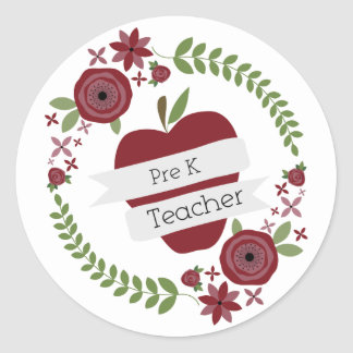 Pre K Teacher Red Apple Floral Wreath Classic Round Sticker
