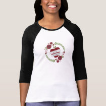 Pre K Teacher Red Apple Floral Wreath T-Shirt