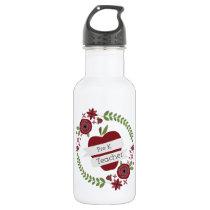 Pre K Teacher Red Apple Floral Wreath Water Bottle