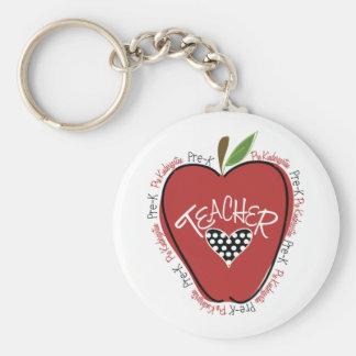 Pre K Teacher Red Apple Key Chain