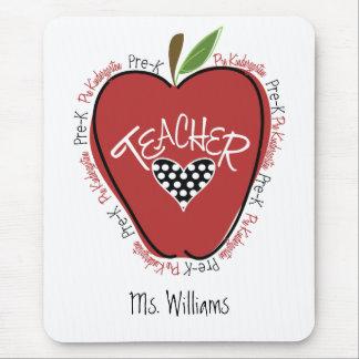 Pre K Teacher Red Apple Mouse Pads