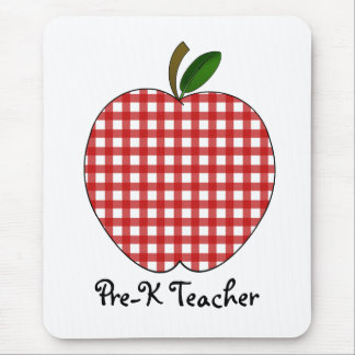 Pre-K Teacher Red Gingha Apple Mousepad