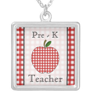 Pre - K Teacher Red Gingham Apple Necklace