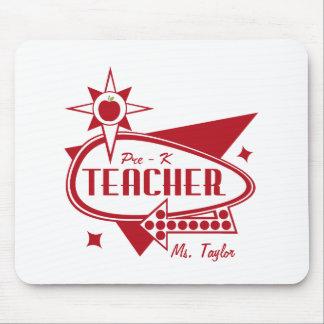 Pre - K Teacher Retro Red 60's Inspired Sign Mousepad