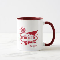 Pre - K Teacher Retro Red 60's Inspired Sign Mug