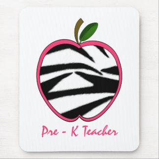 Pre K Teacher Zebra Print Apple Mouse Pad
