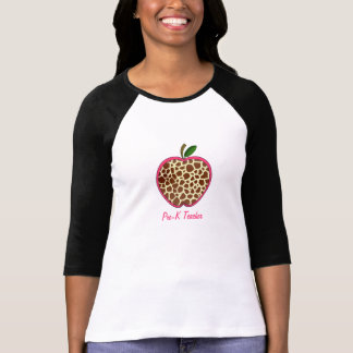 Pre Kindergarten Teacher - Giraffe Print Apple Shirt
