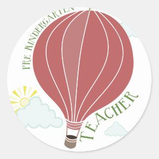 Pre Kindergarten Teacher Hot Air Balloon Apple Classic Round Sticker