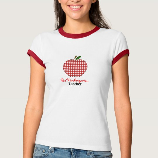 Pre Kindergarten Teacher Shirt - Red Gingham Apple