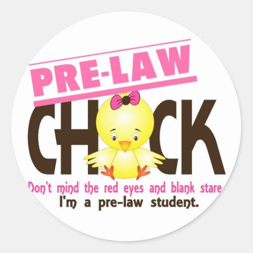 Pre-Law Chick 2 Round Sticker