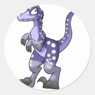 Pre-made Velociraptor - Wisteria w/ White Spots Round Stickers