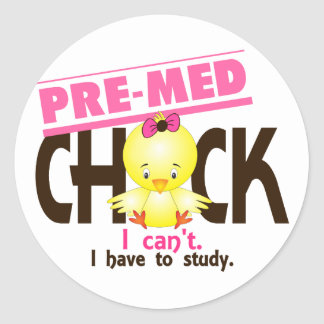 Pre-Med Chick 1 Classic Round Sticker