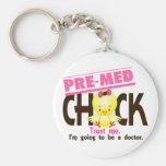 Pre-Med Chick 3 Basic Round Button Keychain