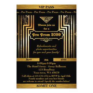 Pre Prom invitation,Gatsby style,ticket,black gold Card