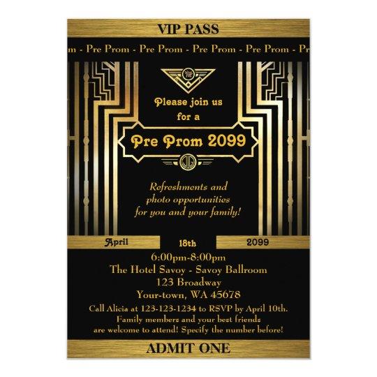 Pre Prom invitation,Gatsby style,ticket,black gold Card ...