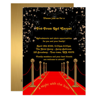 Pre-Prom invitation, Pre Prom,Red-Carpet,15th,16th Card
