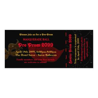 Pre Prom Invitation Ticket Masquerade Style,chic