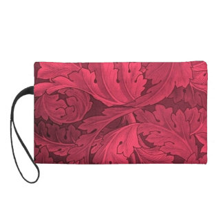 Pre-Raphaelite Acanthus Pattern In Reds Wristlet Clutches