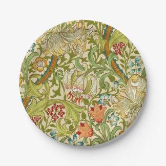 Pre-Raphaelite de oro del vintage del lirio de Plato De Papel De 7 Pulgadas