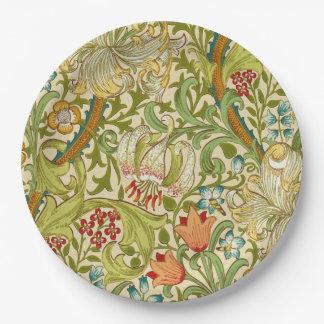 Pre-Raphaelite de oro del vintage del lirio de Plato De Papel De 9 Pulgadas