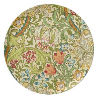 Pre-Raphaelite de oro del vintage del lirio de Platos De Comidas
