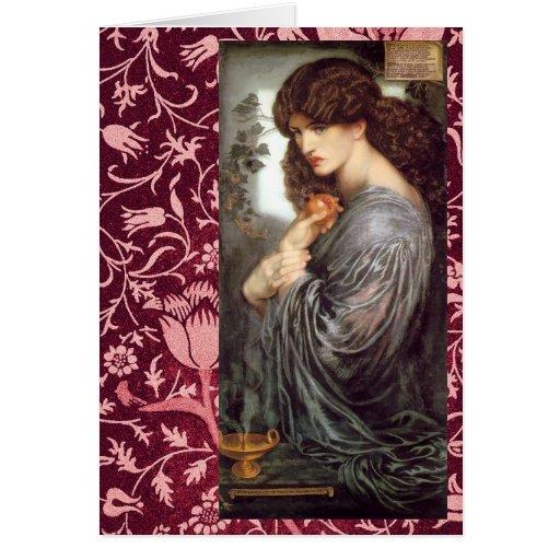 Pre-Raphaelite de Persephone y tarjeta de Morris