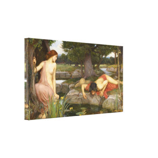 Pre-Raphaelite Painting Echo and Narcissus Canvas Print