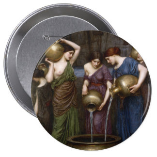 Pre-Raphaelite Waterhouse Art Danaides Button