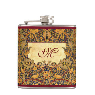 Pre Raphaelite Wm. Morris CUSTOMIZABLE MONOGRAM Hip Flasks