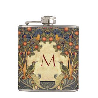 Pre Raphaelite Wm. Morris CUSTOMIZABLE MONOGRAM Hip Flask