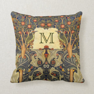 Pre Raphaelite Wm. Morris CUSTOMIZABLE MONOGRAM Throw Pillow