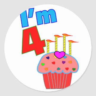 "Pre School Birthday ""I'm 4"" Adorable Cupcake Classic Round Sticker"