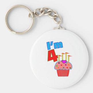 "Pre School Birthday ""I'm 4"" Adorable Cupcake Keychain"